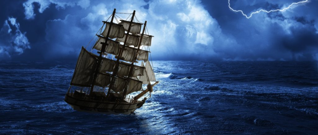 struggling from storm sailing-ship - history of Marine Engineering