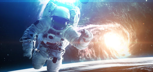 Astronaut in outer space. Elements of this image furnished by NASA