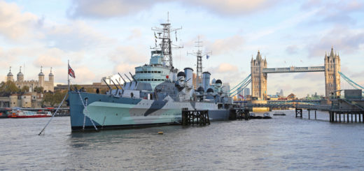 Royal Navy floating museum at Thames RIver in London, United Kingdom.
