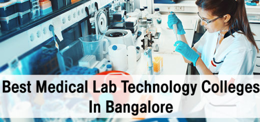 Laboratory in background with the text Best Medical Laboratory Technology Colleges in Bangalore in foreground